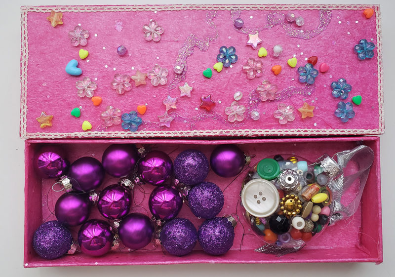 decoupage box with small xmas ornaments