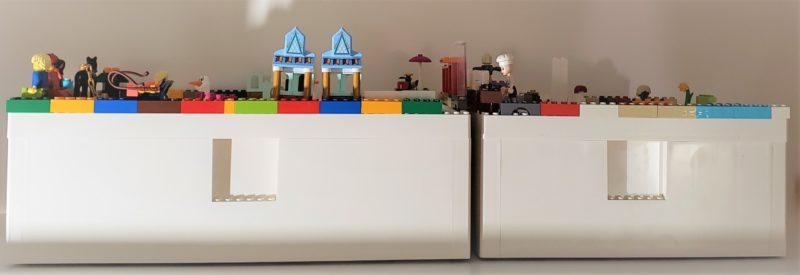 壁シェルフの上のIKEAとLEGOの収納ボックス ビッグレク
